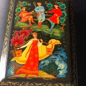 Antique Russian Hand Lacquered Trinket Boxes